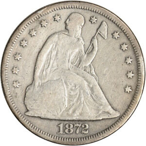 1872 US SEATED LIBERTY SILVER DOLLAR $1   VG