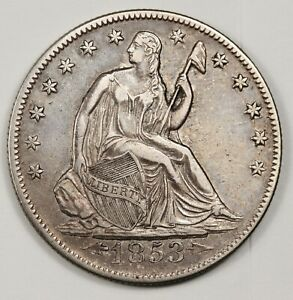 1853 O SEATED LIBERTY HALF.  ERROR DIE CRACK BY STARS OBVERSE.  X.F.  143084