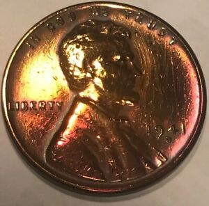 1941 D NICELY TONED BU/UNCIRCULATED LINCOLN CENT WHEAT PENNY RPM ERROR D OVER D