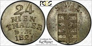 Click now to see the BUY IT NOW Price! GERMANY 1/24 THALER 1821 MS64 PCGS SILVER KM180 SAXE WEIMAR EISENACH  ERROR