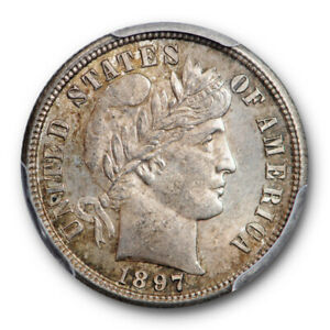 Click now to see the BUY IT NOW Price! 1897 S 10C BARBER DIME PCGS MS 64 UNCIRCULATED TONED ORIGINAL TOUGH
