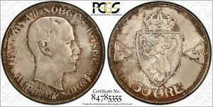 Click now to see the BUY IT NOW Price! NORWAY 50 ORE 1909 MS66 PCGS SILVER KM374 HAAKON VII FINEST POP 1/0 & TYPE