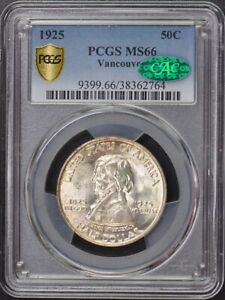 Click now to see the BUY IT NOW Price! VANCOUVER 1925 50C SILVER COMMEMORATIVE PCGS MS66  CAC