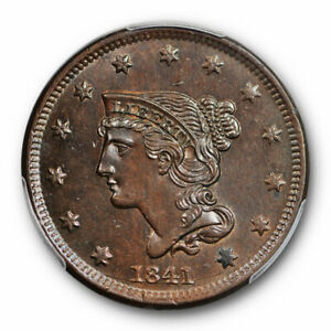 Click now to see the BUY IT NOW Price! 1841 1C BRAIDED HAIR LARGE CENT PCGS MS 64 BN UNCIRCULATED STUNNING COIN
