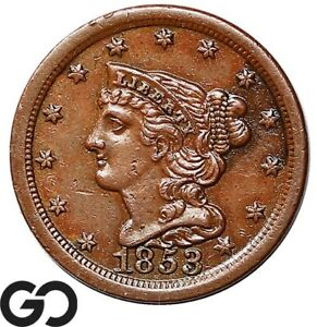 1853 HALF CENT BRAIDED HAIR AU EARLY COPPER