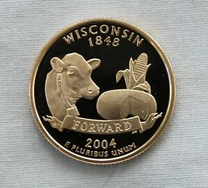 2004 S WISCONSIN CLAD PROOF STATE QUARTER CAMEO