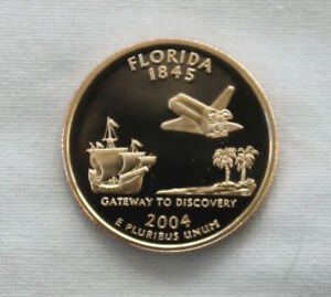 2004 S FLORIDA CLAD PROOF STATE QUARTER CAMEO