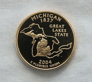 2004 S MICHIGAN CLAD PROOF STATE QUARTER CAMEO
