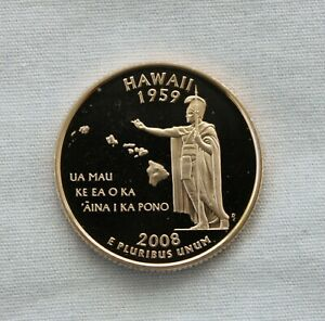 2008 S HAWAII CLAD PROOF STATE QUARTER CAMEO