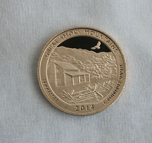 2014 S GREAT SMOKY MOUNTAINS CLAD PROOF ATB QUARTER CAMEO