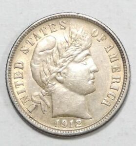 1912 BARBER DIME ALMOST UNC SILVER 10 CENTS