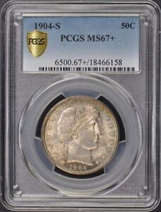 Click now to see the BUY IT NOW Price! 1904 S 50C BARBER HALF DOLLAR PCGS MS67