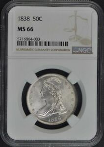 Click now to see the BUY IT NOW Price! 1838 CAPPED BUST REEDED EDGE 50C NGC MS66