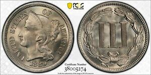 Click now to see the BUY IT NOW Price! 3C THREE CENTS 1889 MS66  PCGS NICKEL ULTRA GEM POP 5  MATTE APPEARANCE