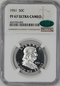 Click now to see the BUY IT NOW Price! 1951 PROOF FRANKLIN HALF DOLLAR 50C NGC & CAC CERT PR PF 67 ULTRA CAMEO  003