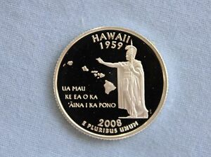 2008 S HAWAII SILVER PROOF STATE QUARTER GEM CAMEO
