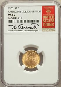 1926 US GOLD $2.50 SESQUICENTENNIAL OF AMERICAN INDEPENDENCE   NGC MS65