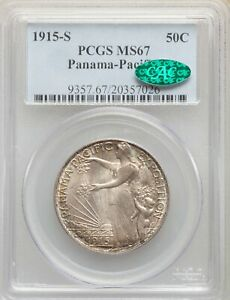 1915 S US SILVER 50C PANAMA PACIFIC EXPOSITION HALF DOLLAR   PCGS MS67   CAC