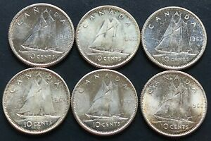 LOT OF 6X CANADA SILVER 10 CENT DIMES   DATES: 1961 TO 1966   MINT CONDITION