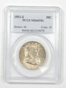 Click now to see the BUY IT NOW Price! 1951 S FRANKLIN SILVER HALF DOLLAR PCGS MS 66 FBL FULL BELL LINES  MINT SET TONE