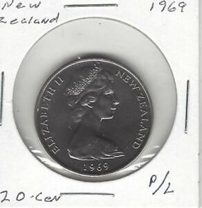 NEW ZEALAND 20 CENTS 1969 PROOF LIKE