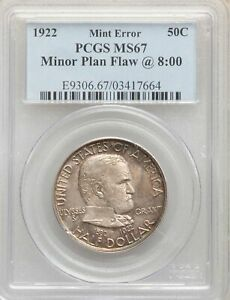 1922 US SILVER 50C GRANT MEMORIAL HALF DOLLAR   PCGS MS67 ERROR MINOR PLAN FLAW