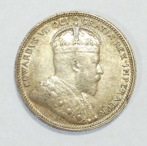 1907 CANADA KING EDWARD VII SILVER QUARTER ALMOST UNCIRCULATED 5C