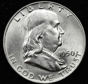 1950 D FRANKLIN HALF DOLLAR.  FULLY SEPARATED HORIZONTAL BELL LINE'S.  BU.  INV.