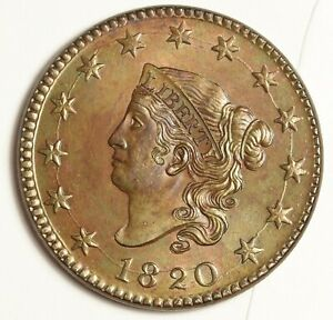 1820 LARGE CENT ERROR LARGE CIRCULAR DIE CRACK OBV.BEAUTIFUL ORIGINAL UNC 143997