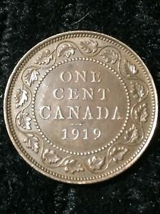 CANADIAN PENNY 1919 LARGE CENT GOOD CONDITION