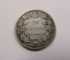 CANADA QUEEN VICTORIA SILVER 25 CENTS QUARTER 1888 132 YEARS OLD
