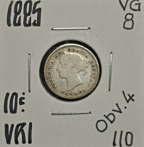 1885 OBV.4 CANADA 10 CENTS VG 8