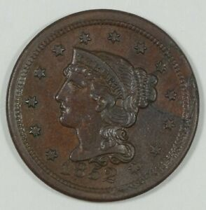 1852 BRAIDED HAIR LARGE CENT ALMOST UNC 1C   RETAINED LAMINATION