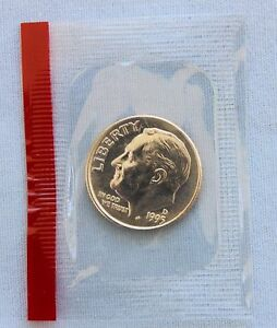 1995 D ROOSEVELT UNCIRCULATED DIME IN ORIGINAL MINT CELLO  2115