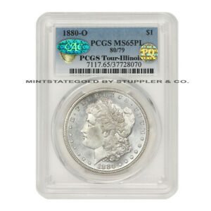 Click now to see the BUY IT NOW Price! 1880 O 80/79 $1 SILVER MORGAN PCGS MS65PL PQ CAC ILLINOIS SET PROOF LIKE COIN