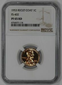 1953 PROOF LINCOLN WHEAT CENT PENNY NGC FS 402 PF PR 65 RD RECUT COAT  118