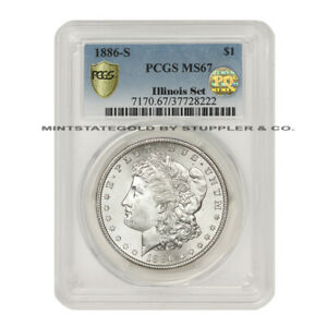 Click now to see the BUY IT NOW Price! 1886 S $1 SILVER MORGAN PCGS MS67 PQ APPROVED ILLINOIS SET SAN FRANCISCO COIN