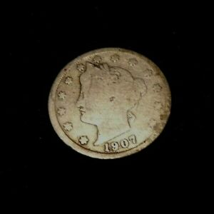 COIN   1907 LIBERTY V NICKEL   PARTIAL LIBERTY   SLIGHTLY OFF CENTER