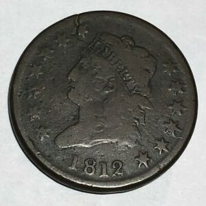 1812 CLASSIC HEAD US LARGE CENT.  VG CRACKED PLANCHET.   LOTQ1