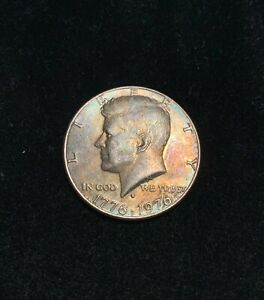 1976 P KENNEDY HALF DOLLAR COLORFUL RAINBOW TONING REVERSE ERROR