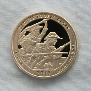 2017 S GEORGE ROGERS CLARK CLAD PROOF NATIONAL PARKS QUARTER CAMEO