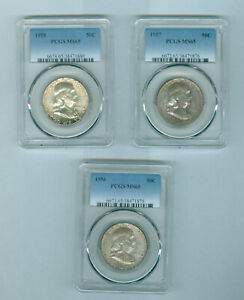 PCGS MS 65 1956 P 1957 P & 1958 P SILVER FRANKLIN 50 CENT ATTRACTIVE TONNING.