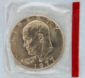 1977 D EISENHOWER DOLLAR UNCIRCULATED IN ORIGINAL MINT CELLO HOLDER  8512