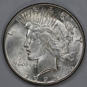 1925 S PEACE DOLLAR $1 CHOICE ABOUT UNCIRCULATED    SLIDER  1117