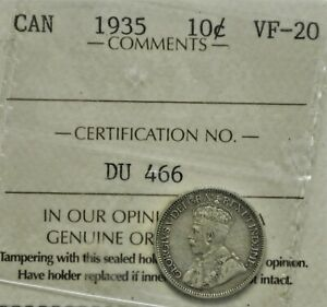 1935 CANADA 10 CENTS ICCS VF 20