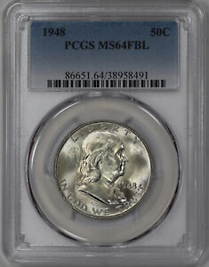 1948 FRANKLIN HALF DOLLAR 50C PCGS CERTIFIED MS 64 FBL FULL BELL LINES UNC  491