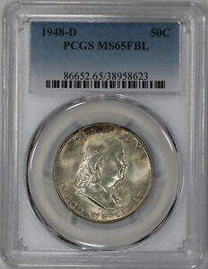 1948 D FRANKLIN HALF DOLLAR 50C PCGS MS 65 FBL FULL BELL LINES UNCIRCULATED  623