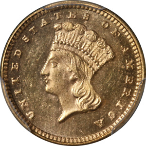 1876 TYPE 3 INDIAN PRINCESS GOLD $1 PCGS MS64 GREAT EYE APPEAL STRONG STRIKE