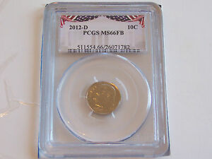 2012 D ROOSEVELT DIME PCGS MS 66 FB BUSINESS STRIKE     FULL BANDS   FREE SHIP