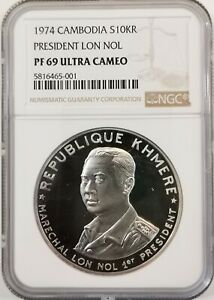 Click now to see the BUY IT NOW Price! NGC PF69UC 1974 CAMBODIA 10000RIELS LON NOL SILVER TOP GRADE WITH PACKAGE